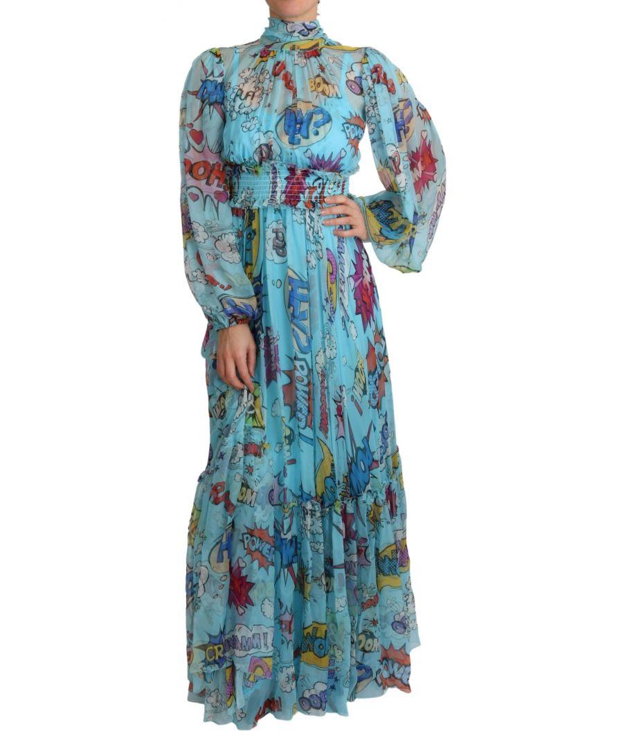 Image for Dolce & Gabbana Blue Cartoon Print Pleated Maxi Dress