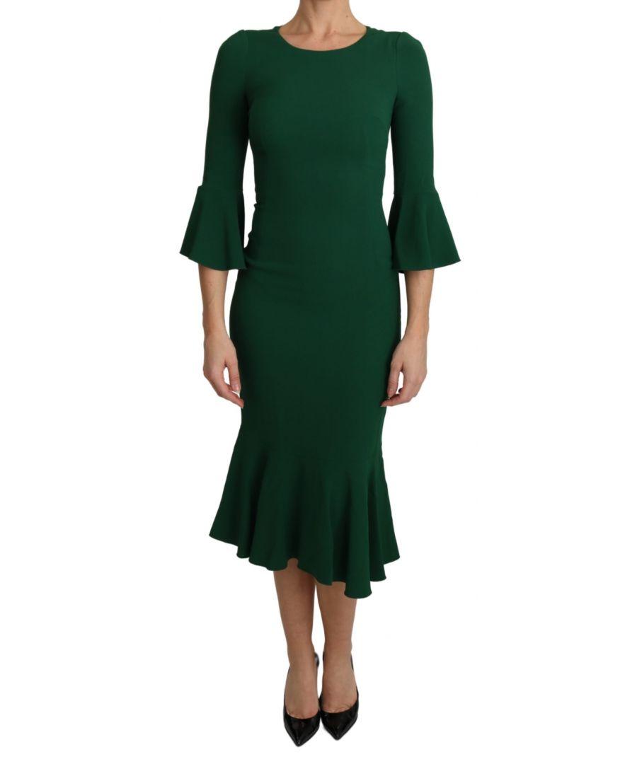 Image for Dolce & Gabbana Dark Green Bodycon Mermaid Midi Dress