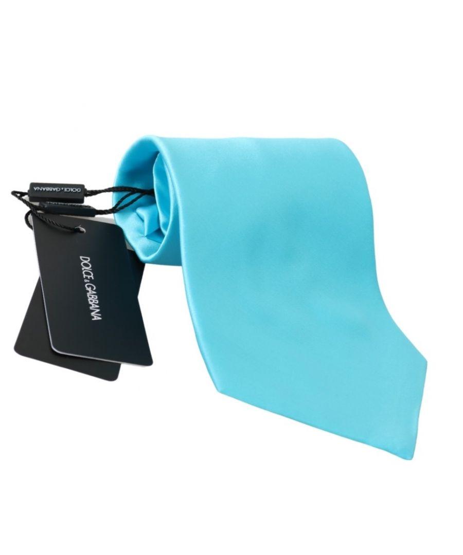 Image for Dolce & Gabbana Light Blue Wide Mens Necktie Accessory 100% Silk Tie