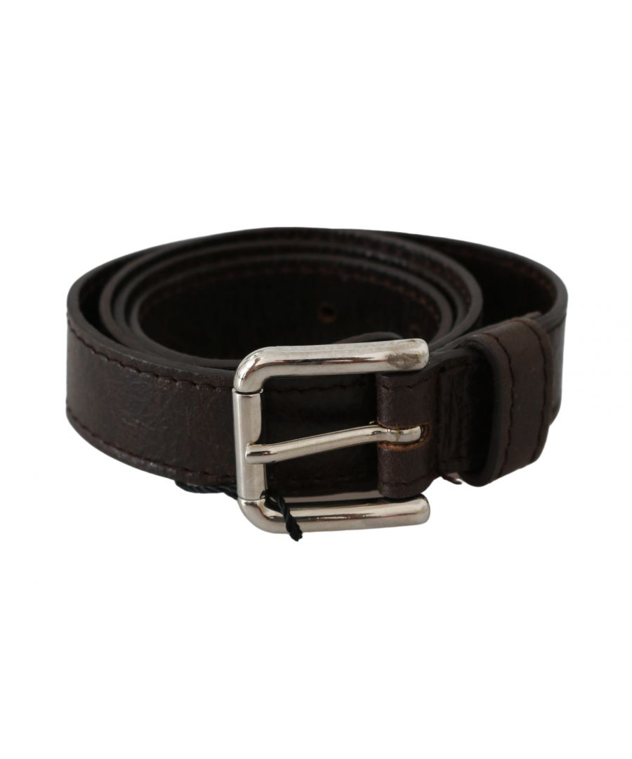 Image for Dolce & Gabbana Brown Silver Buckle Waist Women Leather Belt