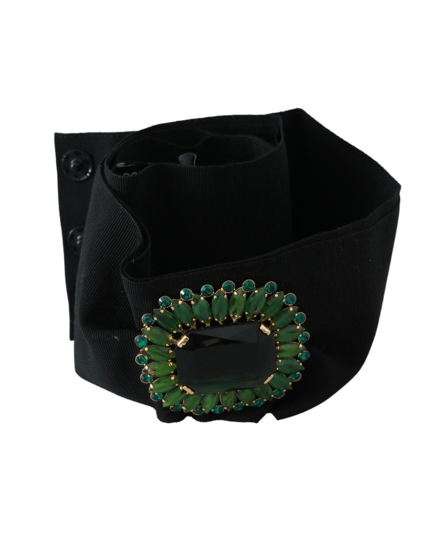 Image for Dolce & Gabbana Black Stretch Green Crystal Wide Waist Belt