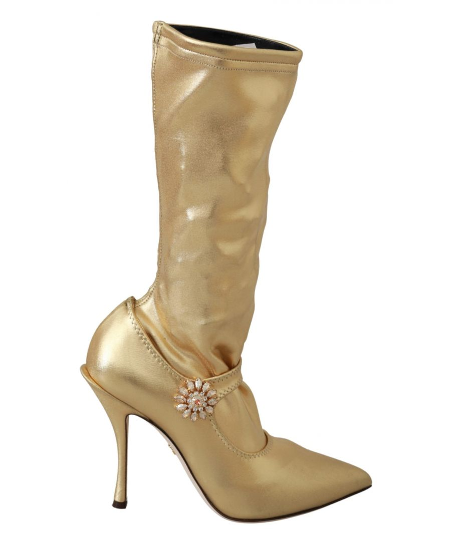 Image for Dolce & Gabbana Gold Stretch Pumps Heels Booties Shoes
