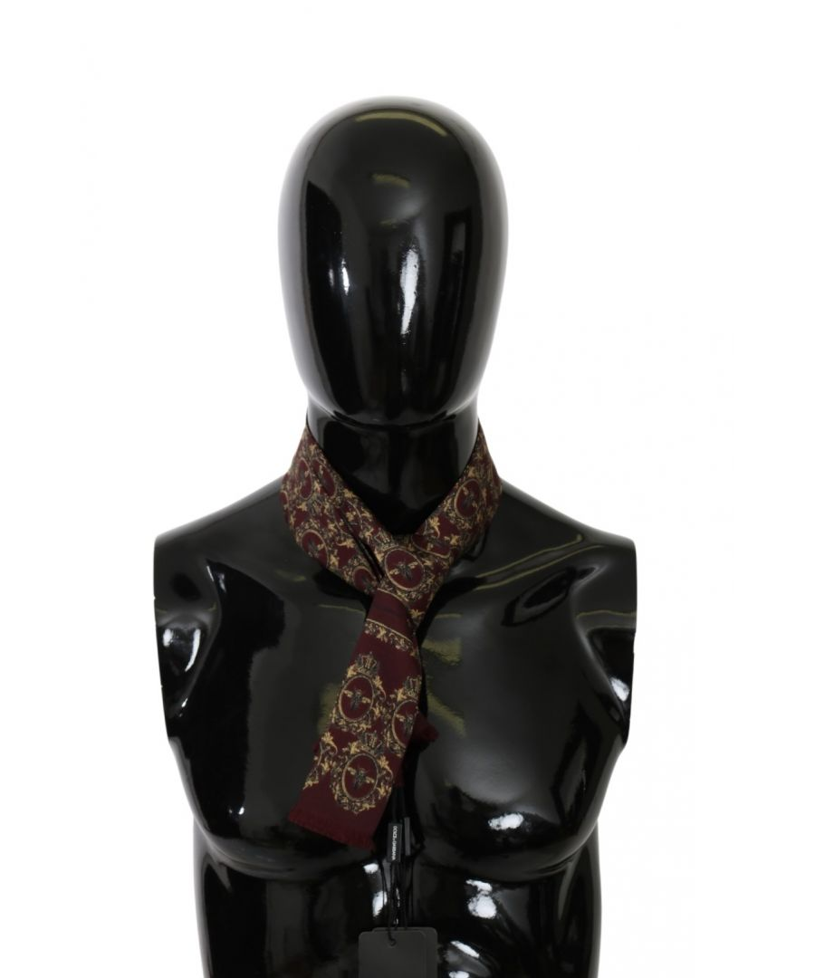 Image for Dolce & Gabbana Maroon Crown Bee Wrap Shawl 100% Silk Scarf
