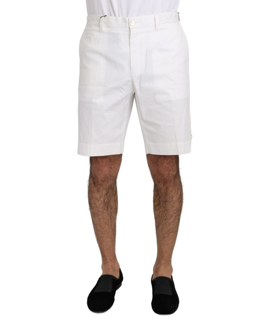 Image for Dolce & Gabbana White Cotton Stretch Casual Knee High Shorts