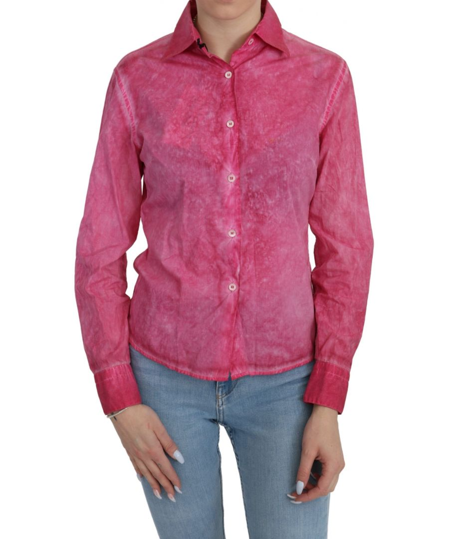Image for Ermanno Scervino Pink Collared Long Sleeve Shirt Blouse Top