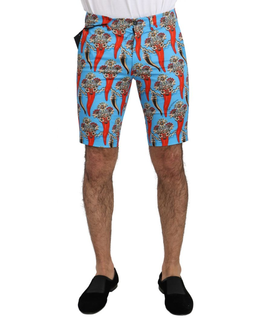 Image for Dolce & Gabbana Blue Cotton Stretch Casual Royal Chili Shorts