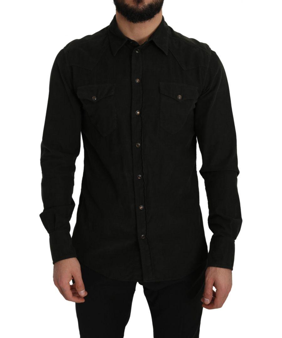 Image for Dolce & Gabbana Black Manchester Cotton Sicilia Casual Shirt