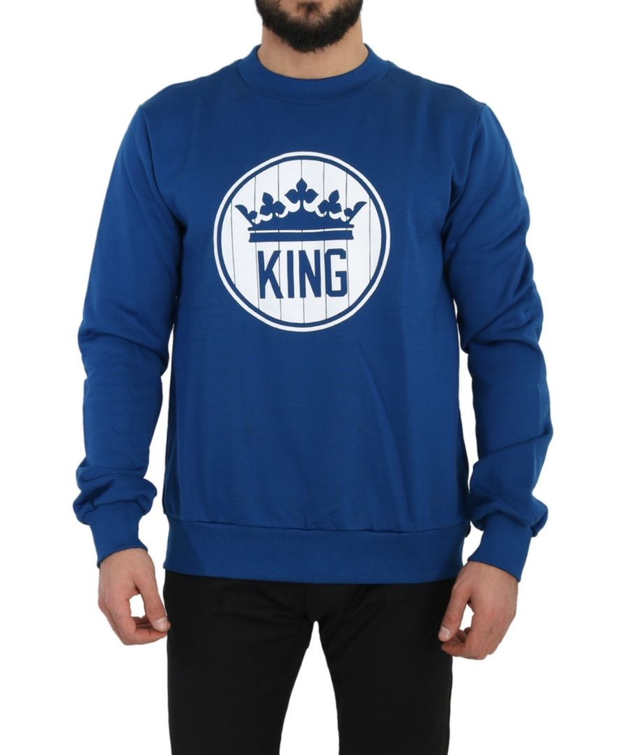 Image for Dolce & Gabbana Blue Cotton Logo Print Pullover Sweater