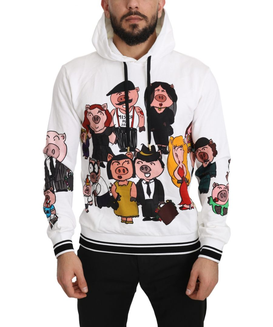 Image for Dolce & Gabbana White Cotton Pig of the Year Hooded Sweater