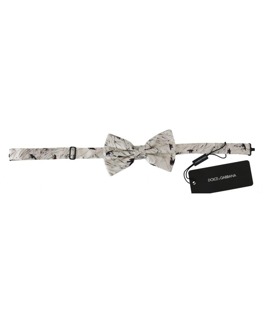 Image for Dolce & Gabbana White Birds 100% Silk Adjustable Neck Butterfly Men