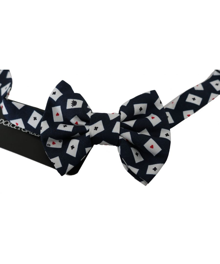 Image for Dolce & Gabbana Navy Blue Deck Of Cards Adjustable Butterfly  Bow Tie