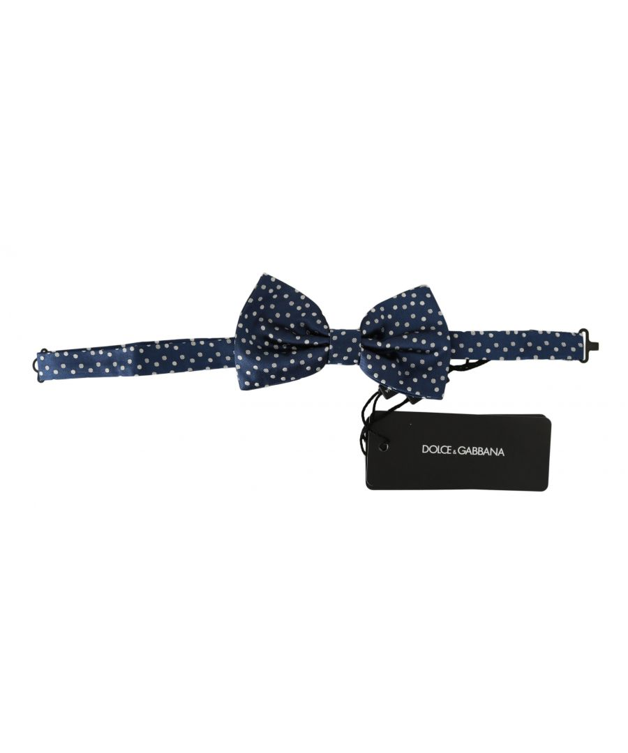 Image for Dolce & Gabbana Blue Polka Dots Silk Adjustable Neck Butterfly Mens Bow Tie