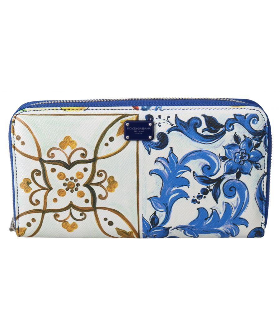 Image for Dolce & Gabbana Majolica Dauphine Leather Zip Around Continental Wallet