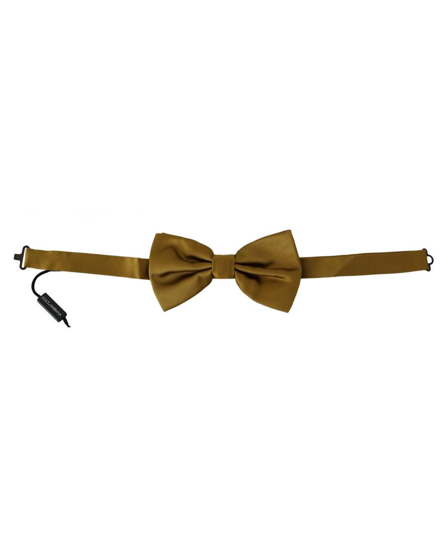 Image for Dolce & Gabbana Yellow Mustard 100% Silk Butterfly Papillon Men Bow Tie