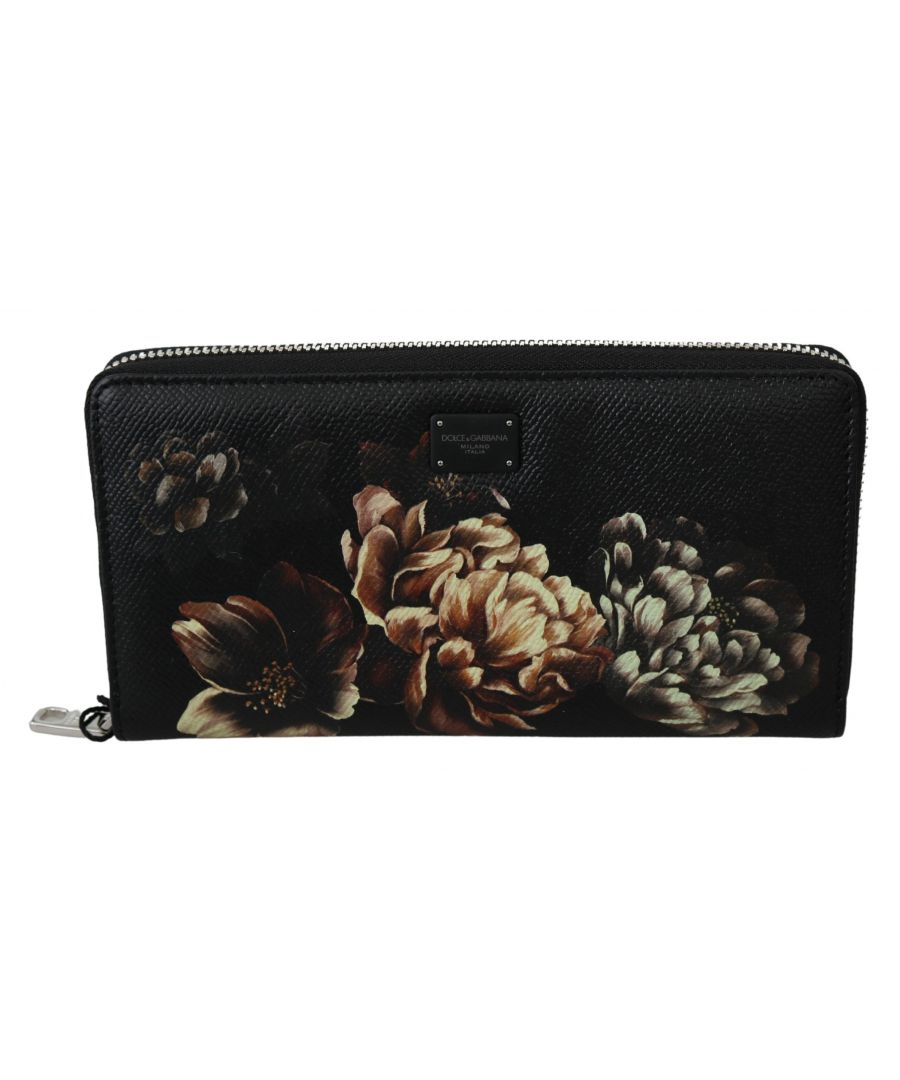 Image for Dolce & Gabbana Black Floral Dauphine Leather Continental Clutch Wallet