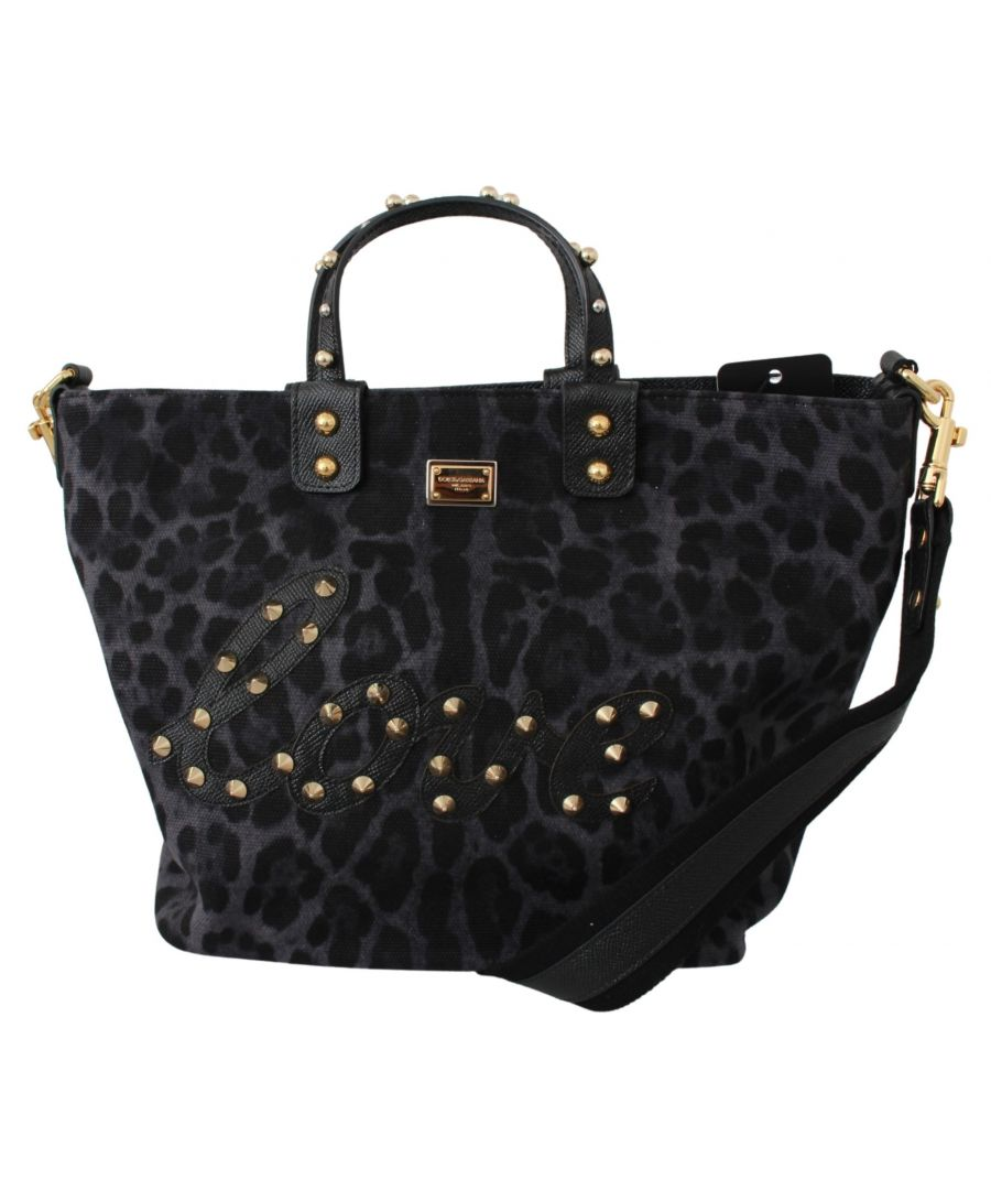 Image for Dolce & Gabbana Blue Leopard Love Patch Studs Shopping Tote  Bag