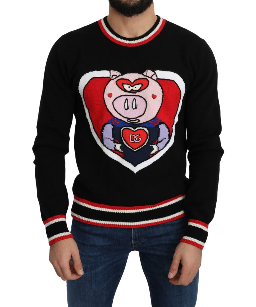Image for Dolce & Gabbana Black Cashmere Pig of the Year Pullover Sweater