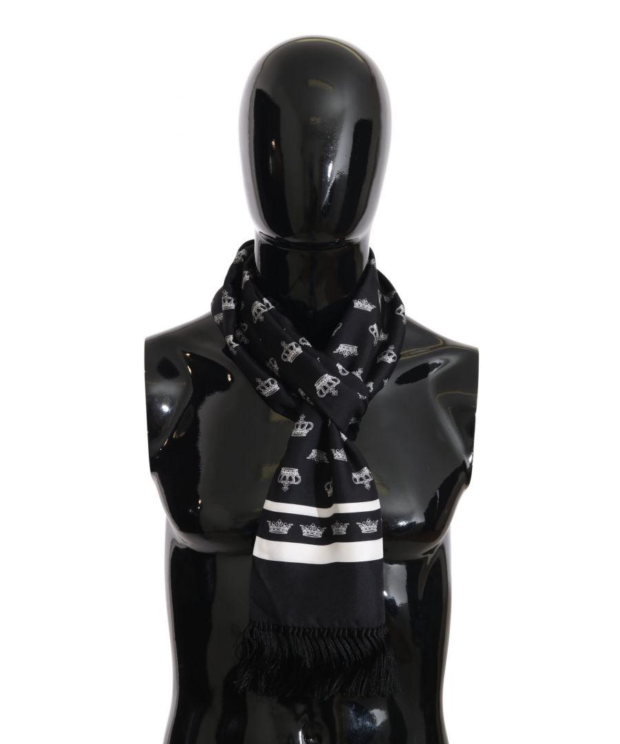 Image for Dolce & Gabbana Blue Silk Crown Fringes Mens Wrap 180cm x 30cm Scarf