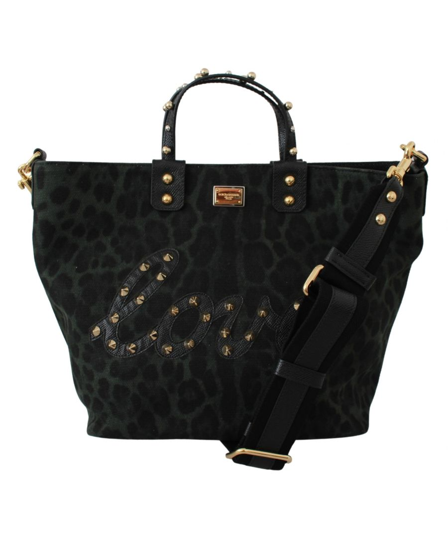 Image for Dolce & Gabbana Grün Leopard Liebe Patch Nieten Einkaufstasche Tasche