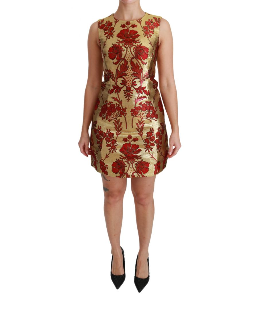Image for Dolce & Gabbana Gold Rot Lurex Jacquard Midi Slim Kleid