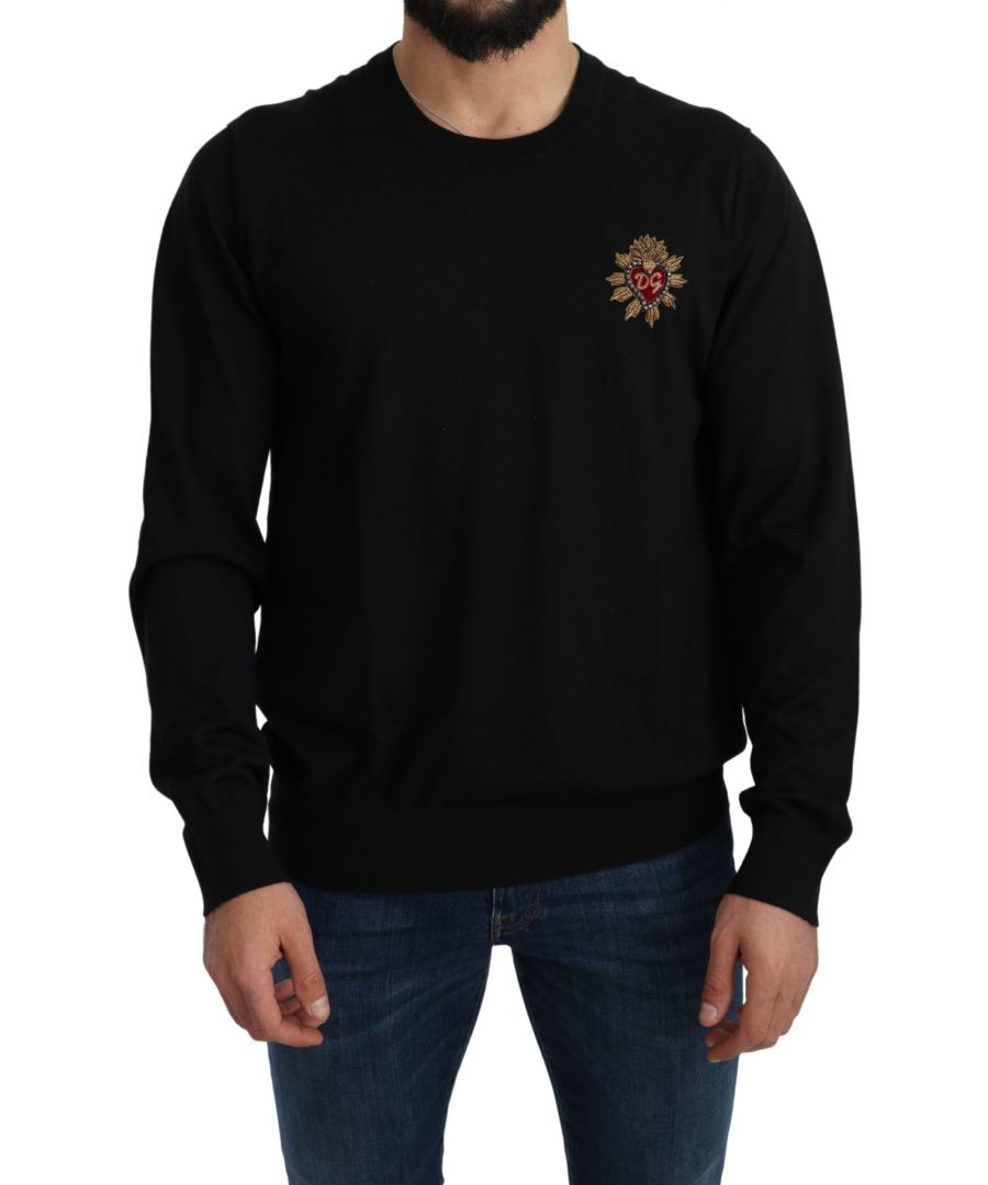 Image for Dolce & Gabbana Black Cashmere DG Logo Pullover Sweater