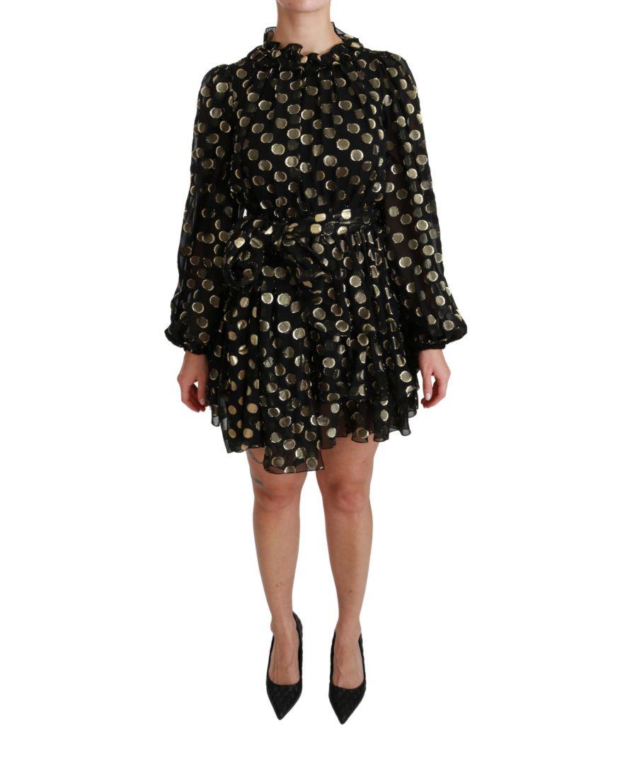 Image for Dolce & Gabbana Black Gold Lurex Polka Dots Silk Flared Dress