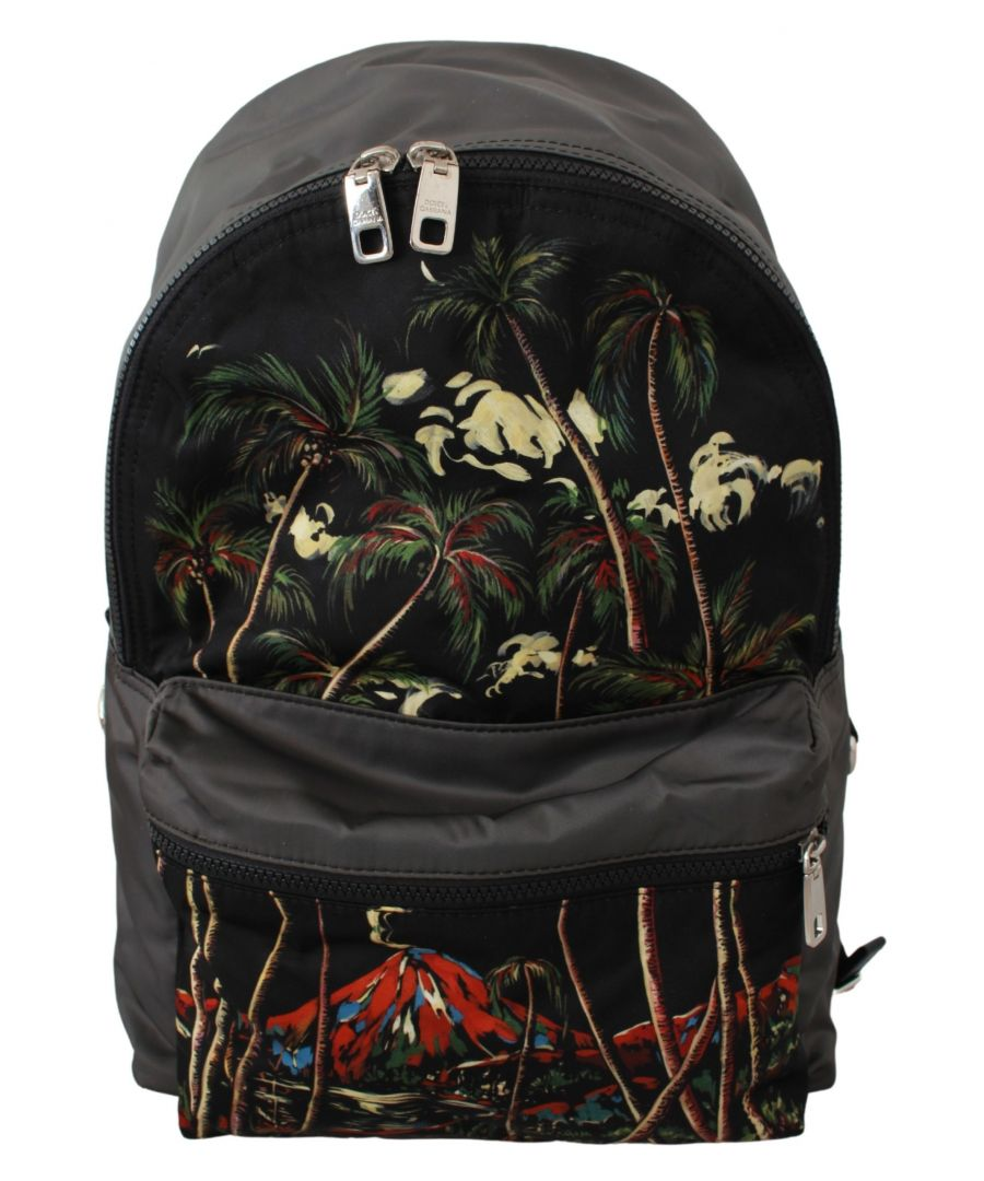 Image for Dolce & Gabbana Schwarze Bäume Vulkan Druck Schule Rucksack Nylon Tasche