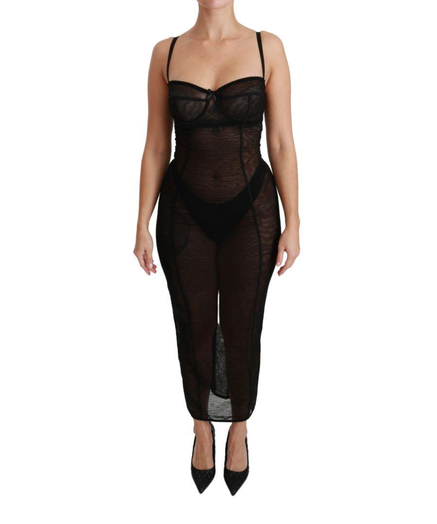 Image for Dolce & Gabbana Black Sheer Mesh Corset Bustier Dress
