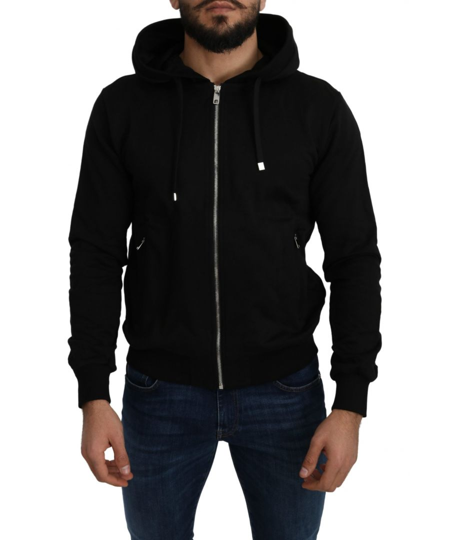 Image for Dolce & Gabbana Black Full Zip Cotton Hooded Sweater