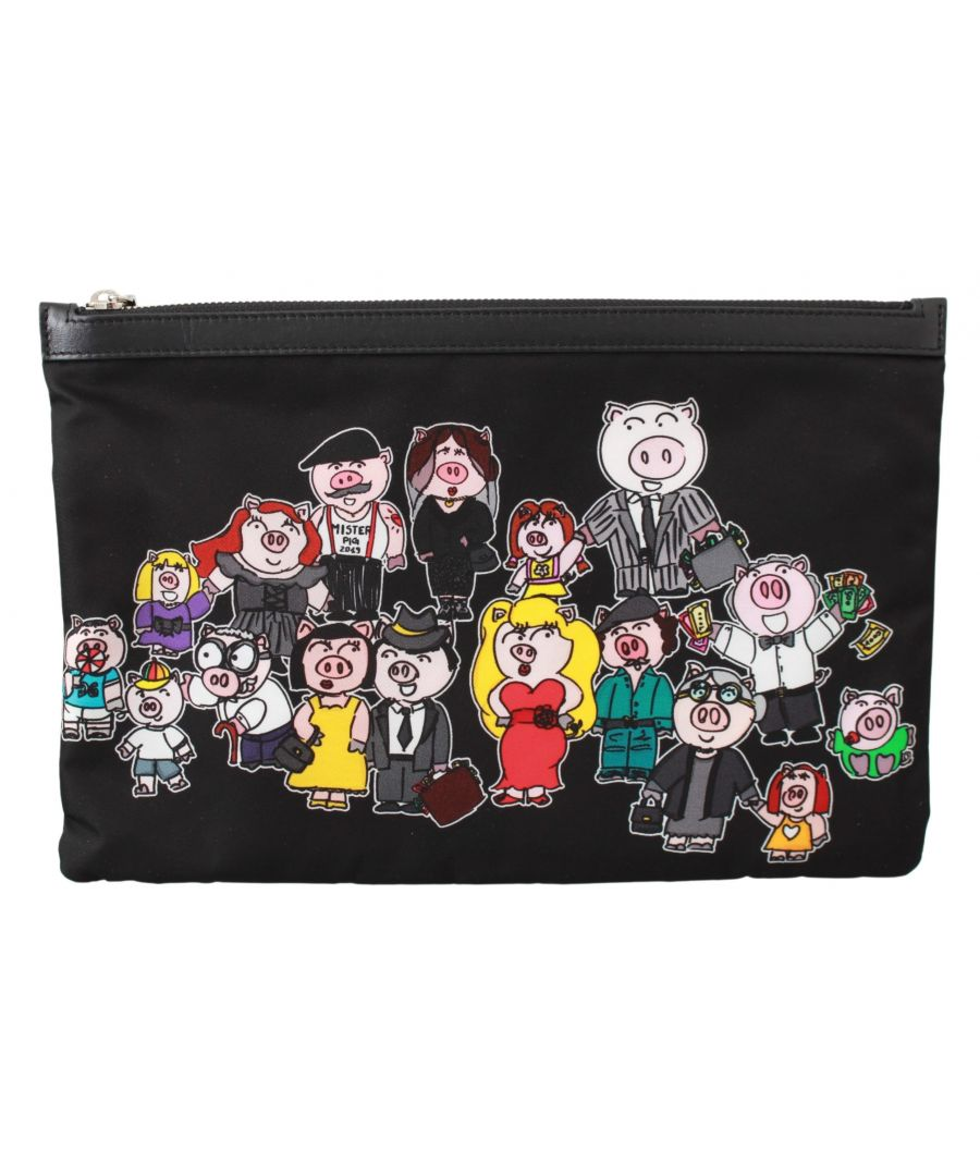 Image for Dolce & Gabbana Black Family Pig Men Hand Pouch Toiletry Bag
