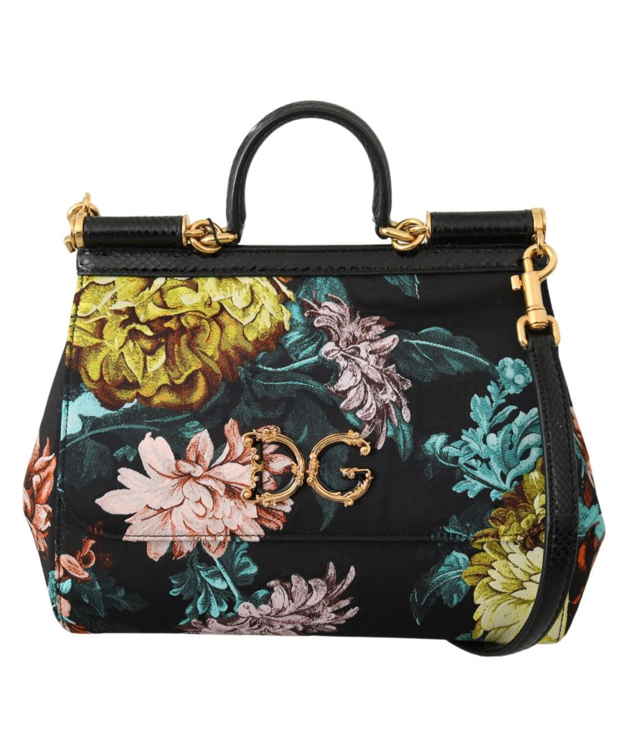 Image for Dolce & Gabbana Floral Jacquard Snakeskin Satchel Shoulder SICILY Bag