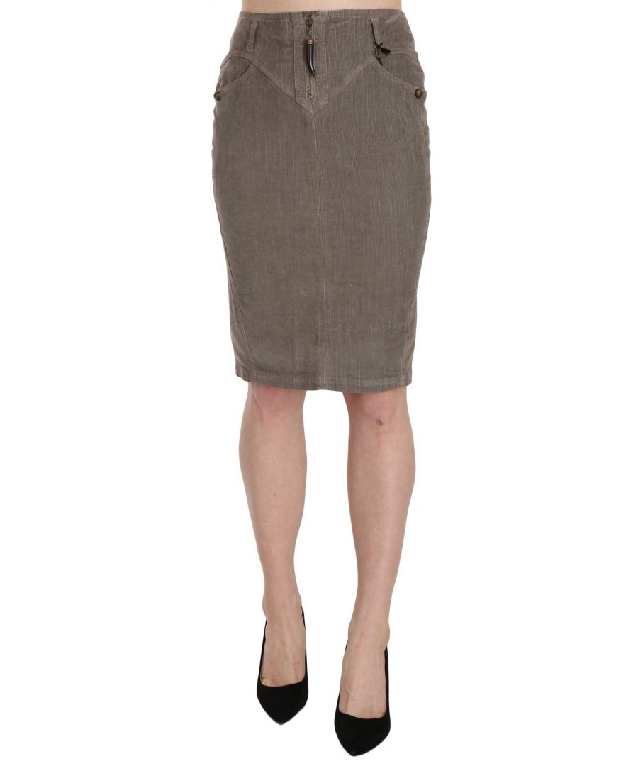 Image for Just Cavalli Gray Corduroy Pencil Straight A-Line Skirt