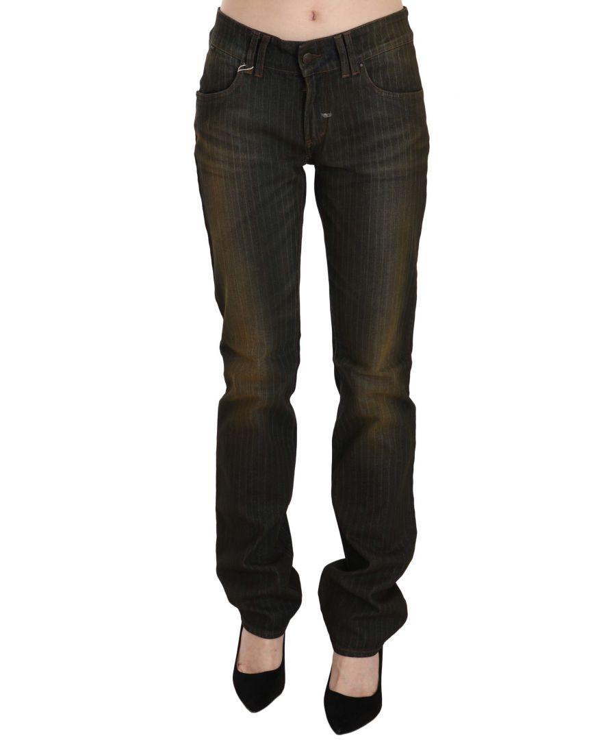 Image for Just Cavalli Black Washed Low Waist Slim Fit Denim Pants Jeans