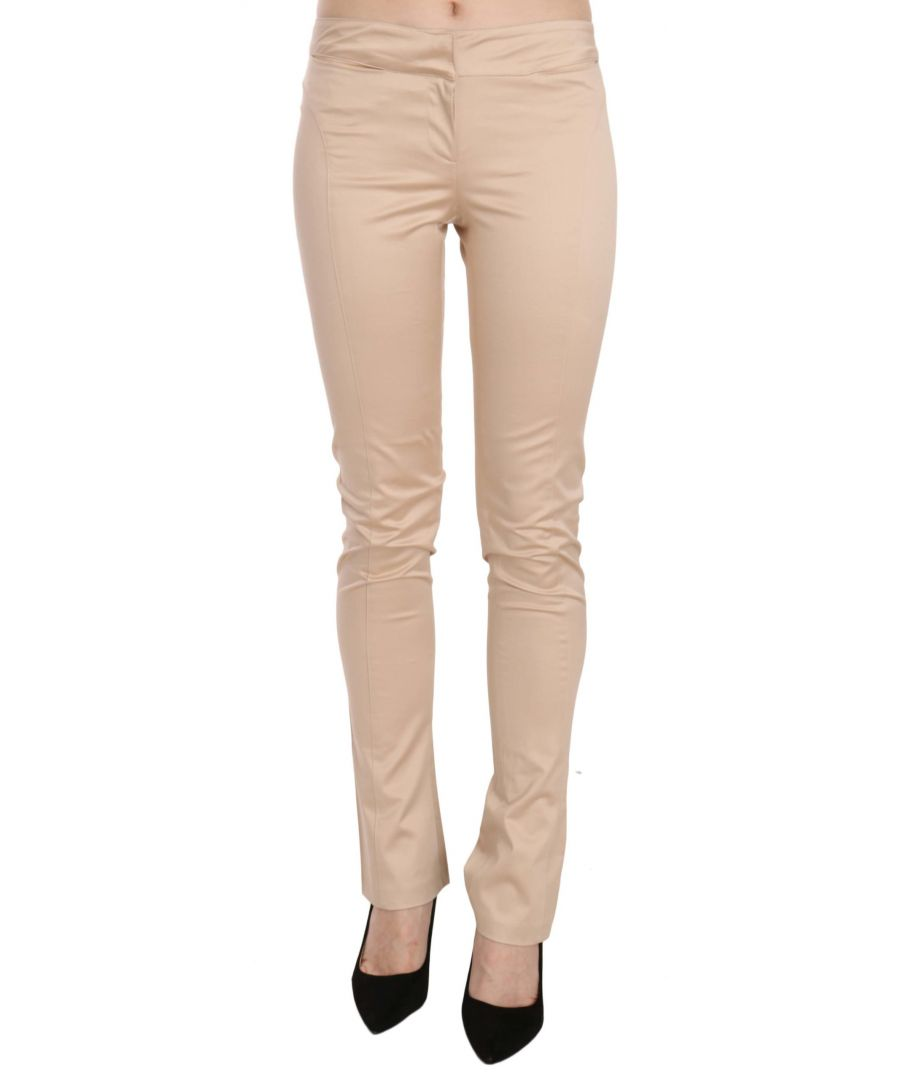 Image for Just Cavalli Cream Low Waist Skinny Formal Trousers Pants