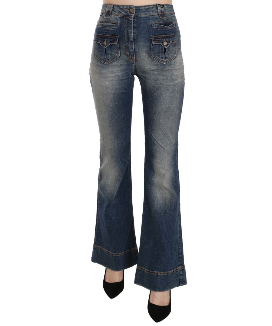 Image for Just Cavalli Blue Washed High Waist Flared Denim Pants
