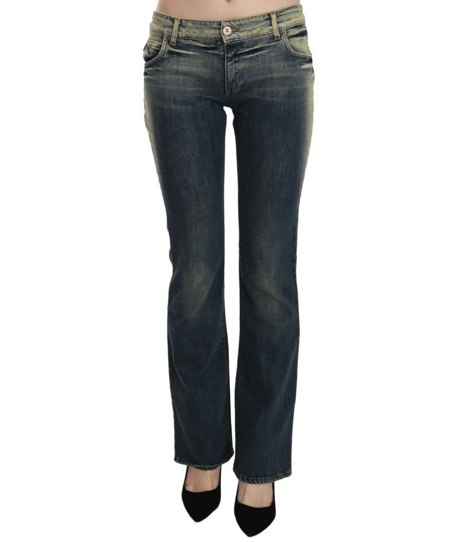 Image for Just Cavalli Blue Washed Low Waist Flared Denim  Pants