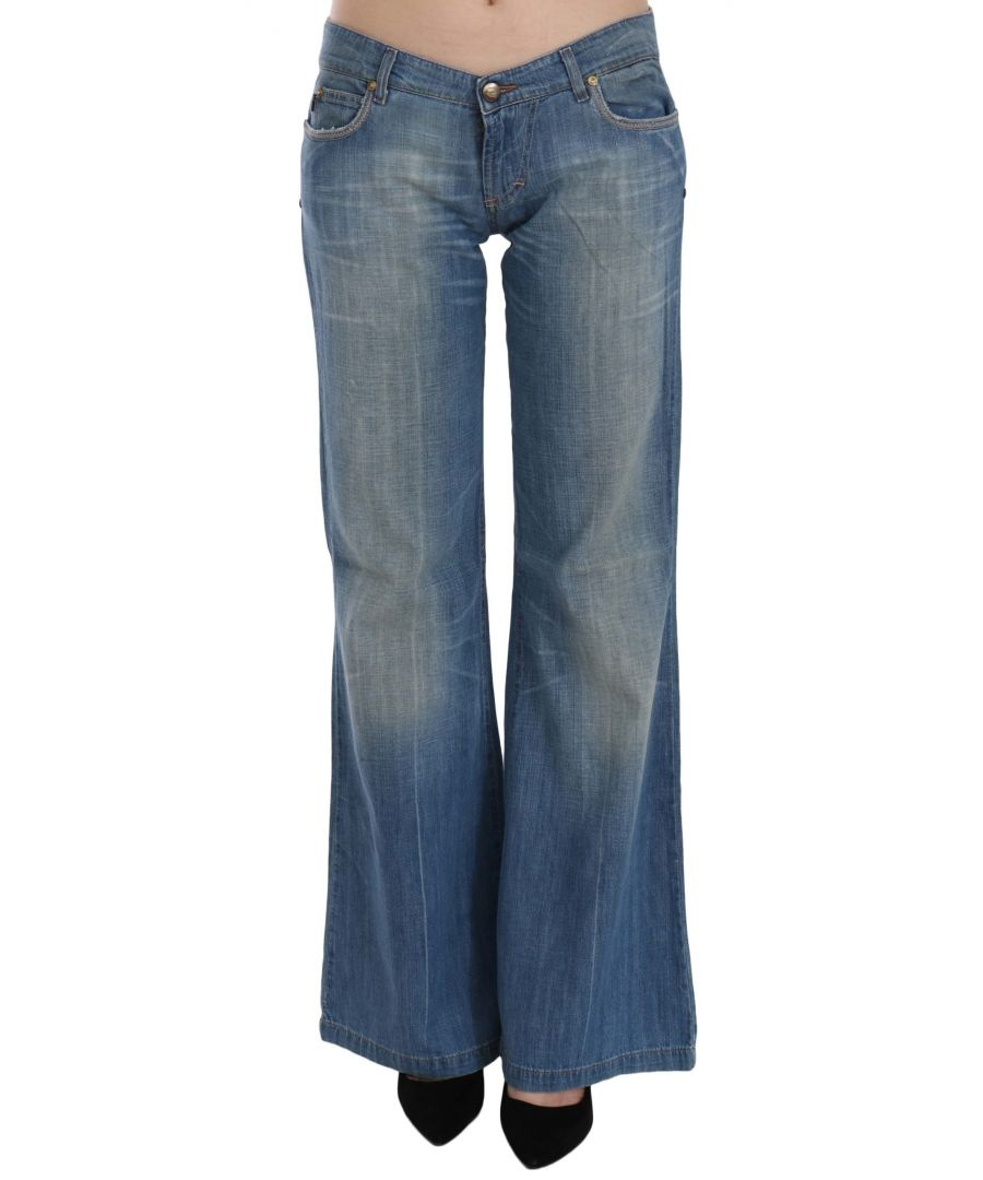 Image for Just Cavalli Blue Washed Low Waist Flared Denim Pants Jeans