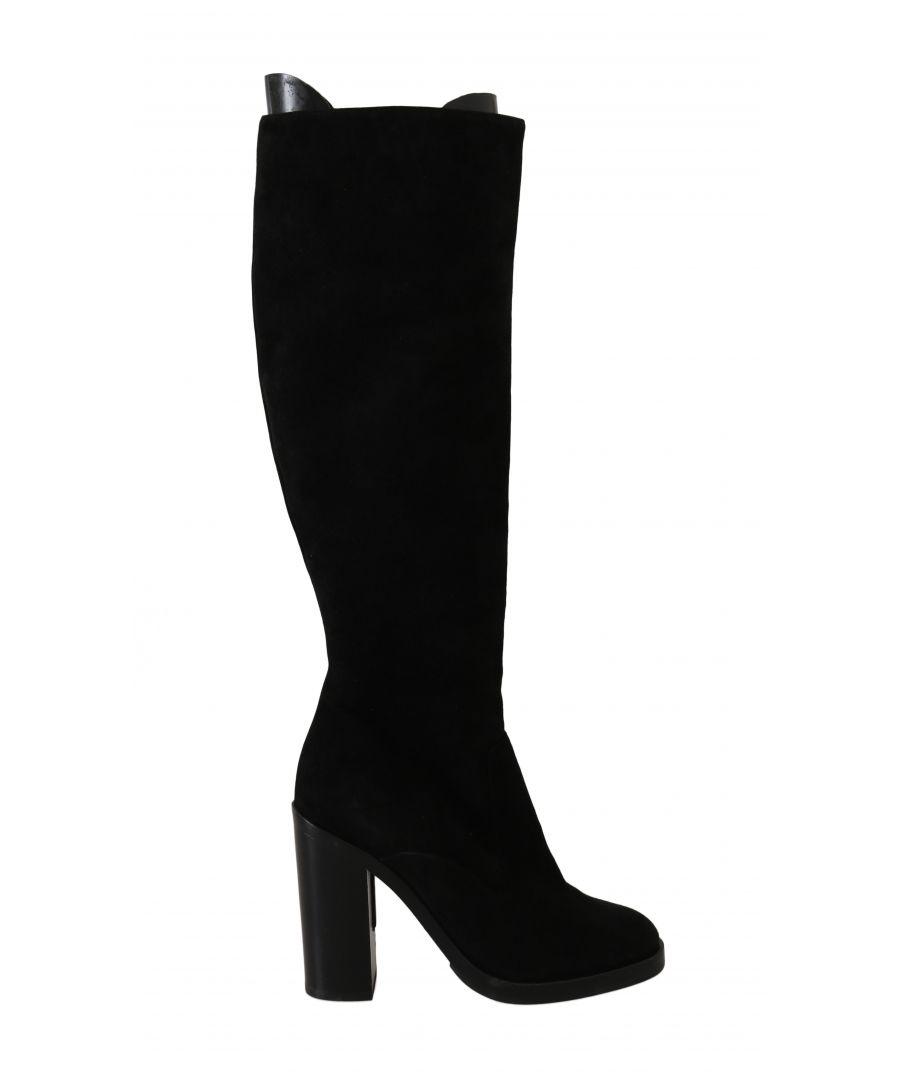 Image for Dolce & Gabbana Black Suede Goatskin Knee High Boots