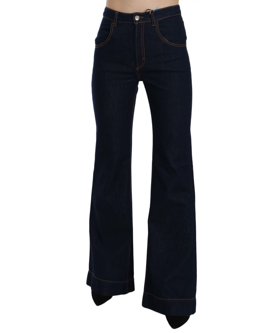 Image for Just Cavalli Blue High Waist Cotton Boot Cut Denim Pants