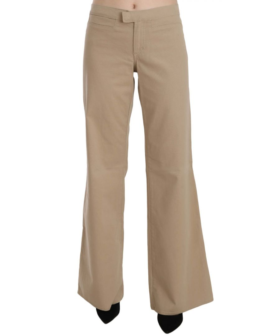 Image for Just Cavalli Beige Cotton Mid Waist Flared Trousers Pants