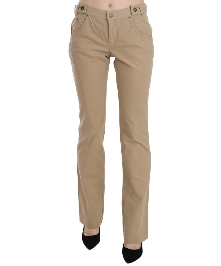 Image for Just Cavalli Beige Cotton Mid Waist Straight Trousers Pants
