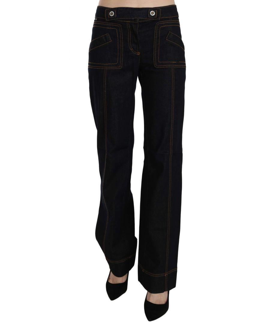 Image for Just Cavalli Black Cotton Mid Waist Straight Denim Pants