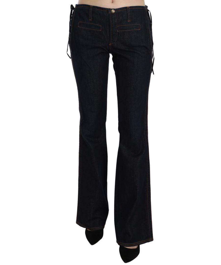 Image for Just Cavalli Black Cotton Low Waist Boot Cut Denim Pants