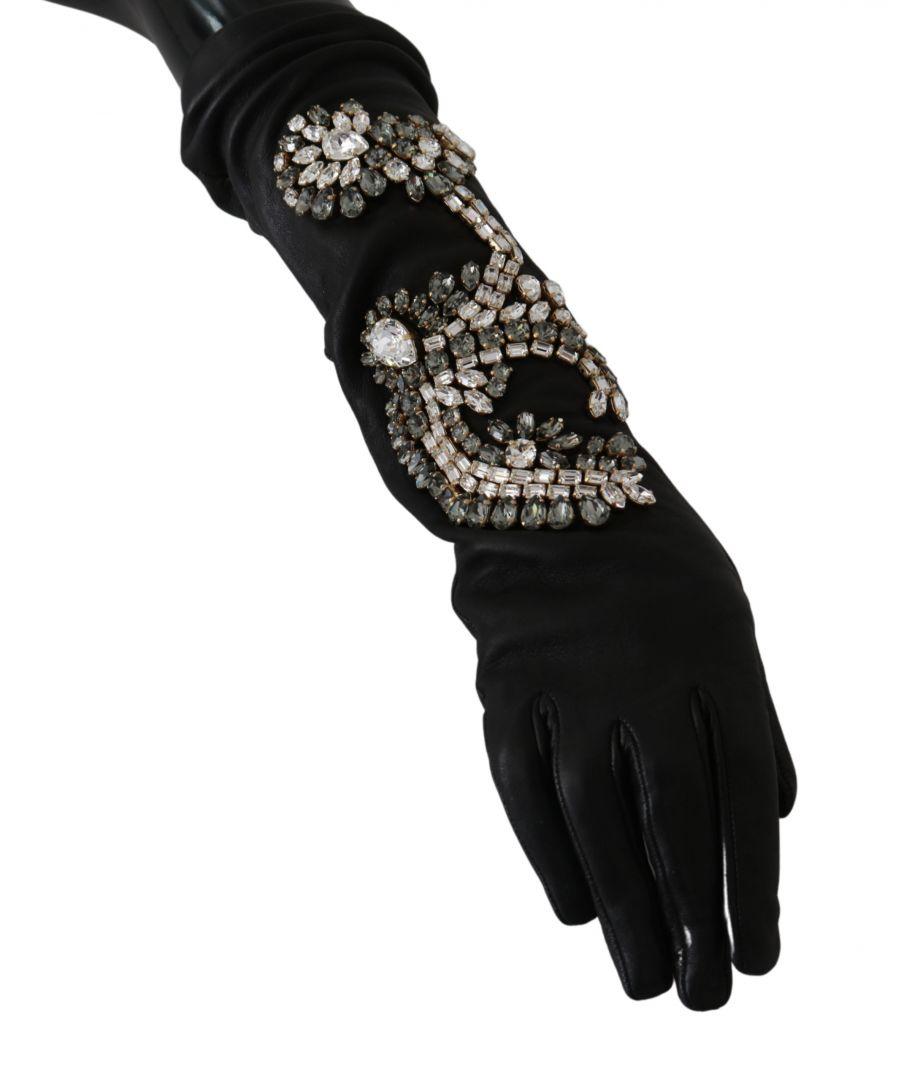 Image for Dolce & Gabbana Black Leather Lamb Skin Crystal Gloves