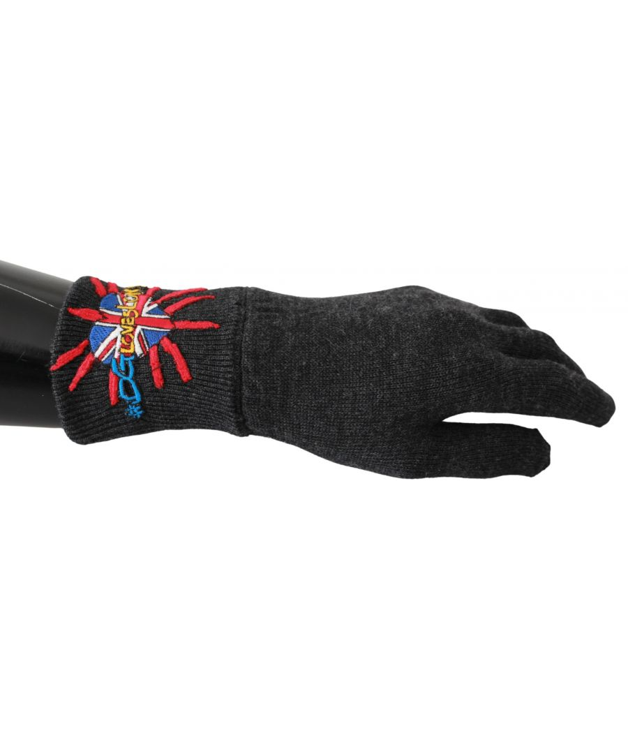 Image for Dolce & Gabbana Gray #DGLovesLondon Embroidered Wool Gloves