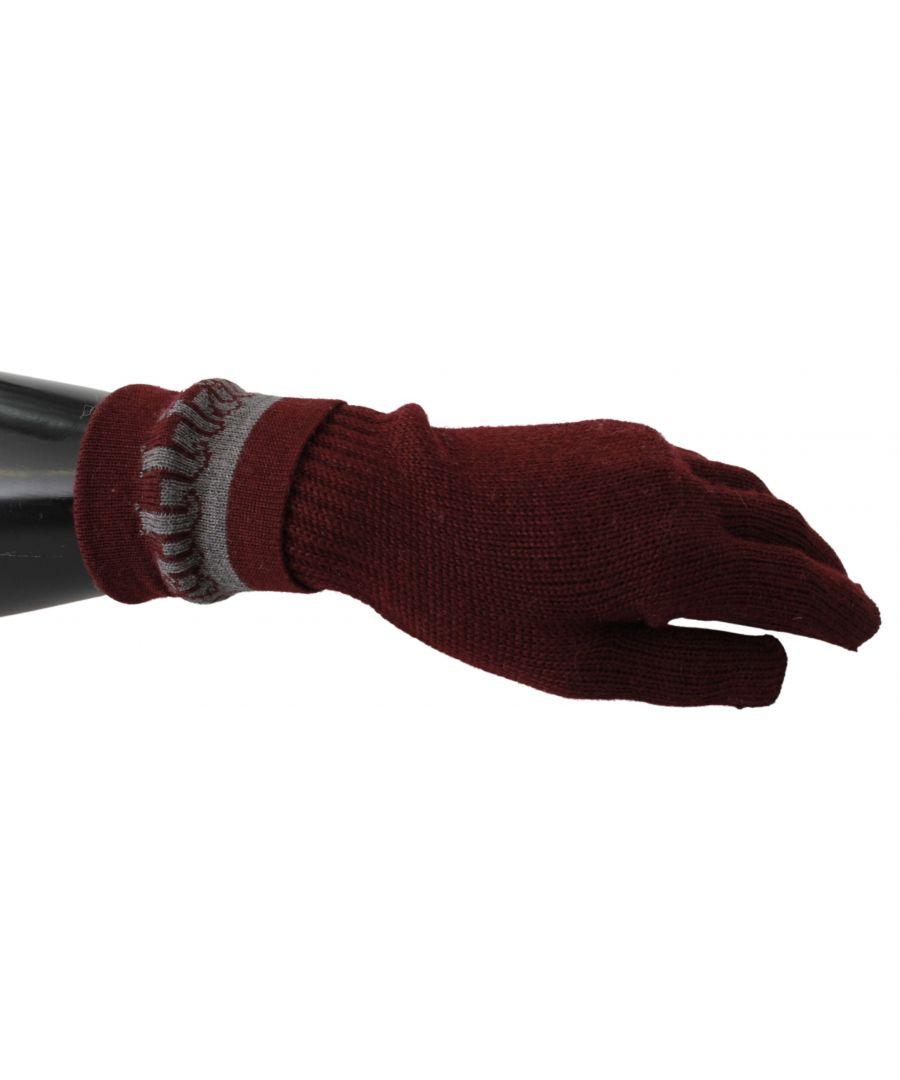 Image for Galliano Maroon Elastic Wrist Length Mitten Designer Logo Gloves