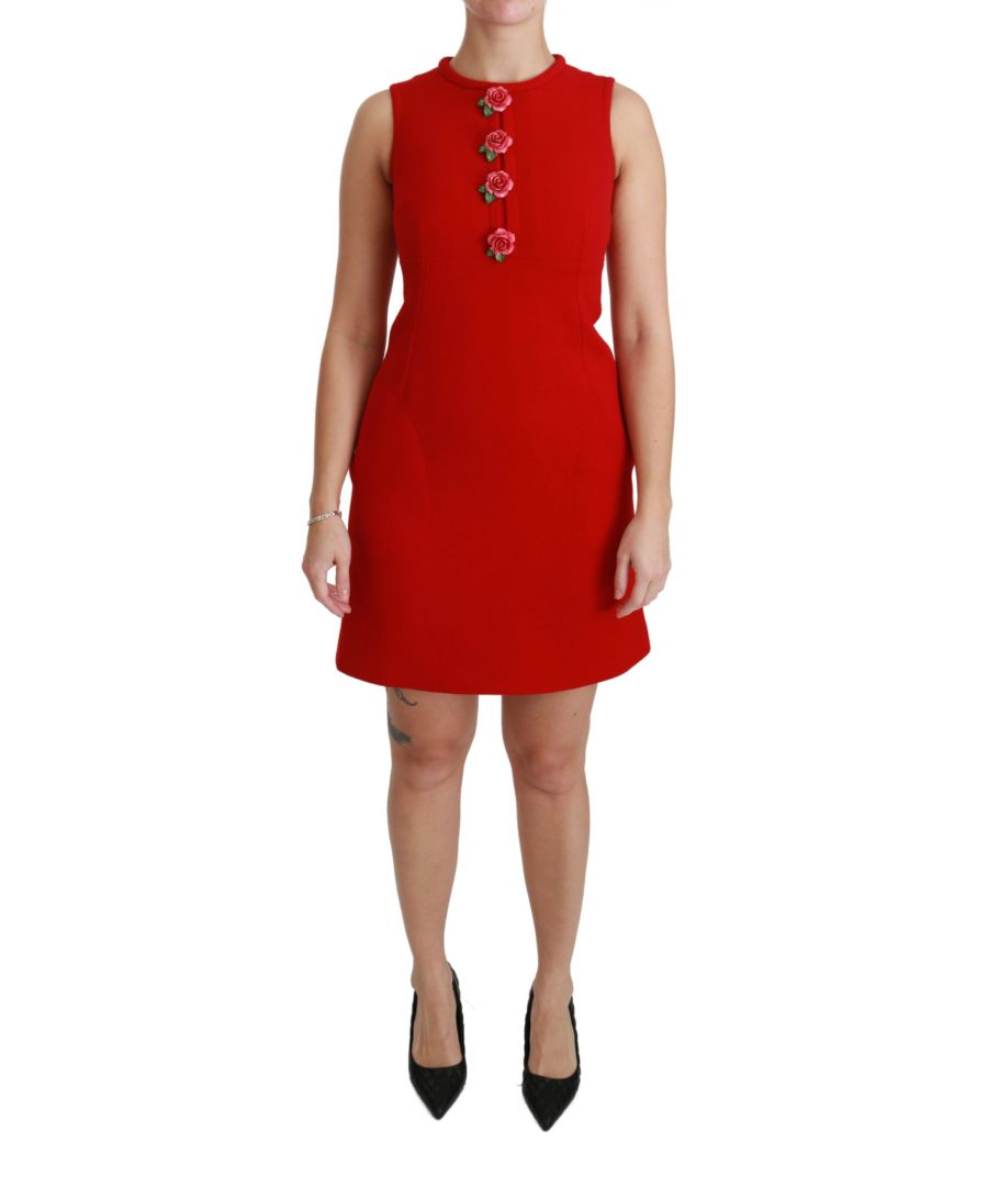 Image for Dolce & Gabbana Red Wool Roses Shift Mini Gown Dress