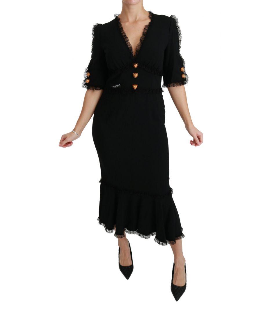 Image for Dolce & Gabbana Black Lace Shift Leopard Head Button Dress