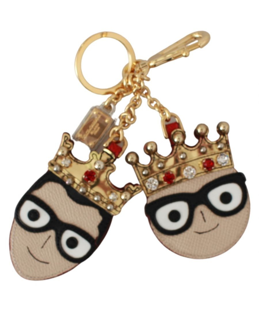 Image for Dolce & Gabbana Leather Dominico Stefano King Crown Crystal Keychain