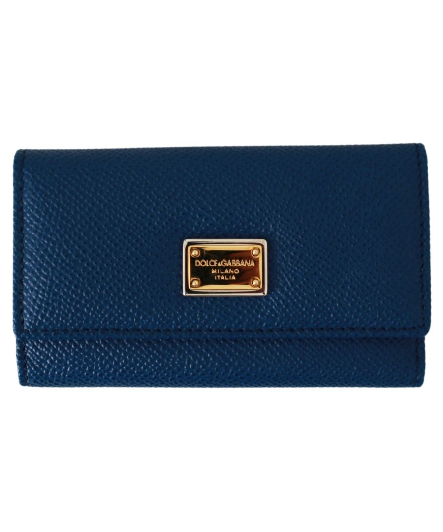 Image for Dolce & Gabbana Blue Leather Wallet Case Key Finder Chain Keyring